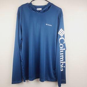 Columbia PFG Rapid Creek Hoodie Blue Shirt New